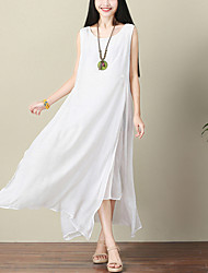 cheap -Women's Daily Holiday Street chic Chinoiserie Loose Swing Dress,Solid Round Neck Maxi Sleeveless Cotton Linen Summer Mid Rise Inelastic