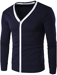 cheap -Men's Rabbit Fur Cardigan - Solid Striped V Neck
