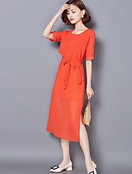 Sign 2017 installed new Slim round neck fake two silk dress slit skirt and long sections