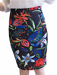 Women's Floral Patterns High Rise Casual/Daily Holiday Knee-length Skirts,Street chic Bodycon Knitting Print All Seasons