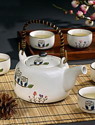 simpatico gufo dipinto a mano di alta tè in porcellana temperatura impostata con il POT (650ml) e cinque tazze (150ml ciascuna)