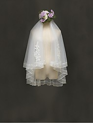 Wedding Veil Two-tier Elbow Veils Ribbon Edge Tulle Lace