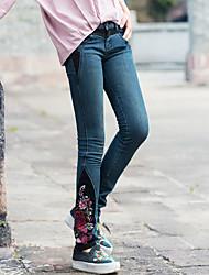 Nouvelles femmes&Broderie de vent national national épellation couleur lavage vieux jeans lavage des pieds pantalons droits