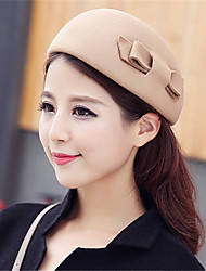 cheap -Women Autumn Winter Dome Woolen Cashmere Solid Color Bow Topper Hat