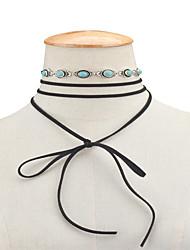 Dame Kort halskæde Halskæder med flere lag Turkis Smykker Legering Vintage Euro-Amerikansk Sort Smykker For Daglig Afslappet 1 Stk.