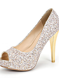 baratos -Mulheres Sapatos Gliter / Materiais Customizados Primavera / Verão Sapatos clube Saltos Salto Agulha Peep Toe Lantejoulas Dourado / Branco