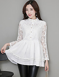 cheap -Women's Daily Wear Chic & Modern Summer Fall T-Shirt,Solid Color Stand Long Sleeves Lace Thin