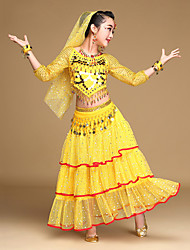 Belly Dance Outfits Kid's Performance Chiffon Gold Coins / Sequins 3/4 Length Sleeve 5 Pieces Top / Skirt / Hip Scarf / Headwear / Veil