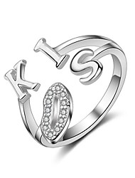 cheap -Women's Sterling Silver Ring - Alphabet Shape Heart For Wedding Party Casual