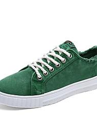 preiswerte -Herrn Schuhe Leinwand Tüll Frühling Herbst Komfort Sneakers Klett für Sportlich Normal Draussen Weiß Orange Grau Grün Blau