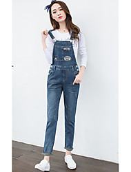 Excellent customer really making 2017 spring new loose washed denim overalls female patch