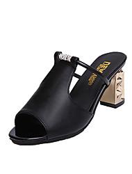 Dámské Sandály Pohodlné PU Jaro Léto Ležérní Šaty Pohodlné Přezky Kačenka Block Heel Bílá Černá 7.5 - 9.5 cm