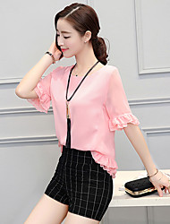 Really making 2016 Korean version of casual women's suit small fragrant wind fashion summer chiffon shirt blouse piece shorts +
