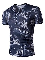 baratos -Homens Tamanhos Grandes Camiseta - Esportes Activo Moda de Rua Estampado Algodão Decote V