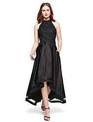 cheap -A-Line Jewel Neck Asymmetrical Lace Over Satin Homecoming Formal Evening Dress with Lace Pleats by TS Couture®