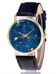 Damen Modeuhr Armbanduhr Quartz Leder Band Bequem Kreativ Cool Schwarz Weiß Braun Grün Grau