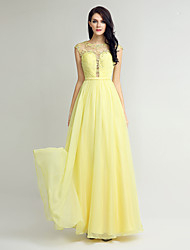 Bainha / coluna joalheira do pescoço comprimento do chão chiffon vestido de dama de honra com bordados