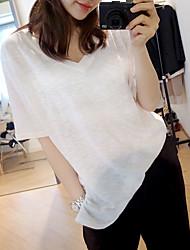Bamboo cotton white short-sleeved T-shirt women large size women's summer loose V-neck short-sleeve cotton compassionate minimalist tide
