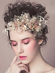 Недорогие -Жемчуг ободки Цветы Прически Инструмент для волос венки Зажим для волос 1 Свадьба Особые случаи Повседневные на открытом воздухе Заставка