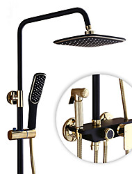 Contemporary Antique Modern Shower Only Rotatable with  Ceramic Valve Single Handle Two Holes for  Nickel Brushed , Shower Faucet