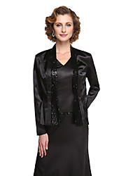 Stretch Satin Wedding Party Evening Women's Wrap With Sequin Coats / Jackets