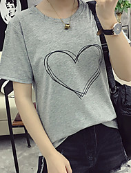 cheap -Women's Dailywear Chic & Modern Summer T-shirt, Solid Color Round Neck Short Sleeves Polyster