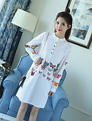 2017 spring new three-dimensional butterfly embroidery lantern sleeve shirt collar dress skirt long section