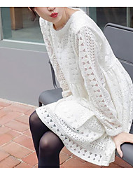 Early spring 2017 Korean sweet lace openwork crochet round neck long-sleeved solid color dress