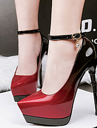 cheap -Women's Shoes Patent Leather Spring Club Shoes Heels Stiletto Heel Pointed Toe Buckle Red / Green / Blue / Dress