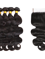 cheap -Indian Wavy Human Hair Weaves 5 Pieces 0.45