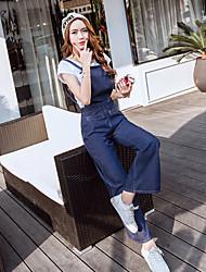segno 2017 primavera sottile coreano denim tuta bretelle studente vita gamba larga pantaloni casual corno