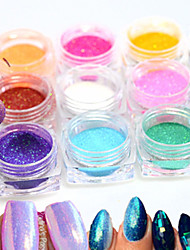 cheap -12bottle/set  Hot Fashion Colorful Nail Art Glitter Mermaid Powder Decoration Nail DIY Magic Mirror Sparkling Powder Nail Glitter Pigment M01-12