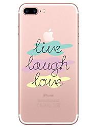 Недорогие -Кейс для Назначение Apple iPhone X / iPhone 8 Прозрачный / С узором Кейс на заднюю панель Слова / выражения Мягкий ТПУ для iPhone X / iPhone 8 Pluss / iPhone 8