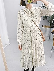 Real shot! Retro bow Korean Slim lace long section bottoming Floral Dress