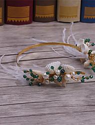 Feder Kristall Messing Legierung Künstliche Perle Kopfschmuck-Hochzeit Besondere Anlässe Freizeit Stirnbänder 1 Stück