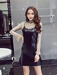 Sign crimping 2016 new winter fashion long-sleeved dress shirt + Sling split suit tide
