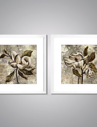Framed Canvas Print Abstract Floral/Botanical Traditional Realism,Two Panels Canvas Square Print Wall Decor For Home Decoration