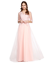 cheap -A-Line V Neck Floor Length Lace / Tulle Prom / Formal Evening Dress with Lace / Pleats by TS Couture® / Illusion Sleeve