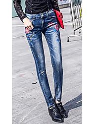 molla jeans elastici stretti pantaloni femminili stampati pantaloni della matita di stirata pantaloni piedi femminili pantaloni femmina