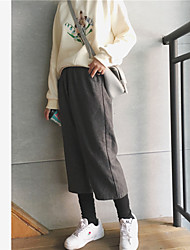 Sign thick woolen wide leg pants female autumn and winter closing leg trousers elastic waist pants straight beam fake two pants