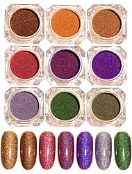 cheap -1 Set 9 Colors BORN PRETTY Starry Holographic Laser Powder Manicure Nail Art Glitter Powder Decorations Accessories