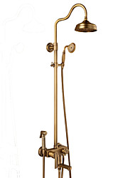 Antique Centerset Rain Shower Ceramic Valve Three Holes Single Handle Three Holes Antique Copper , Shower Faucet