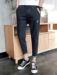 primavera e verão novos ossos japonês adolescentes calça jeans personalidade peixes bolso de trás das calças animal print pés nove pontos