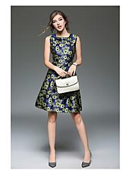 Знак пятно новый тонкий жаккард слово юбка мода рукавов жилет юбка печати платье