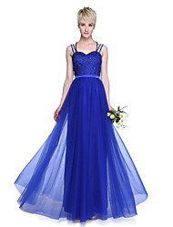 A-Line Spaghetti Straps Floor Length Tulle Bridesmaid Dress with Beading Pleats by LAN TING BRIDE®