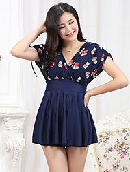 Women's Straped One-piece Lace Up Floral Nylon Floral