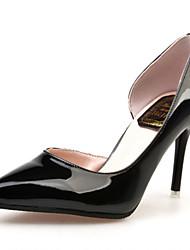 Women's Heels Comfort PU Summer Casual Walking Comfort Hollow-out Stiletto Heel Black Silver 3in-3 3/4in