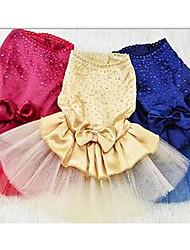 economico -Cane Vestiti Abbigliamento per cani Romantico Casual Da principessa Blu scuro Giallo Rosa Rosso Costume Per animali domestici