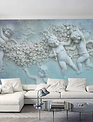 cheap -Art Deco 3D Wallpaper For Home Contemporary Wall Covering  Canvas Material Adhesive required Mural White Relief Angel Clouds XXXL(448*280cm)