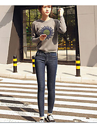 Sign new Korean elastic waist Slim trousers burr feet pencil pants jeans female